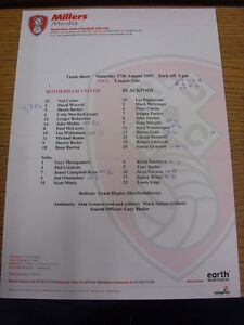 27082005 Colour Teamsheet Rotherham United v Blackpool Millers Media Issue - <span itemprop=availableAtOrFrom>Birmingham, United Kingdom</span> - Returns accepted within 30 days after the item is delivered, if goods not as described. Buyer assumes responibilty for return proof of postage and costs. Most purchases from business s - Birmingham, United Kingdom