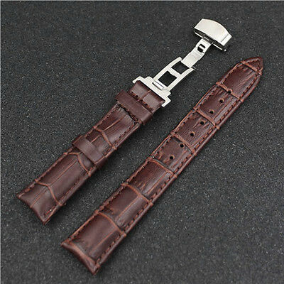 Luxury Leather Stainless Steel Butterfly Clasp Buckle Watch Band Strap 18-24mm