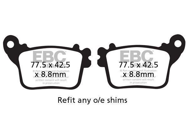 PARA HONDA CBR 1000 RR6/RR7 06>07 EBC Semi-sinterizado V Juego Pastillas Frenos