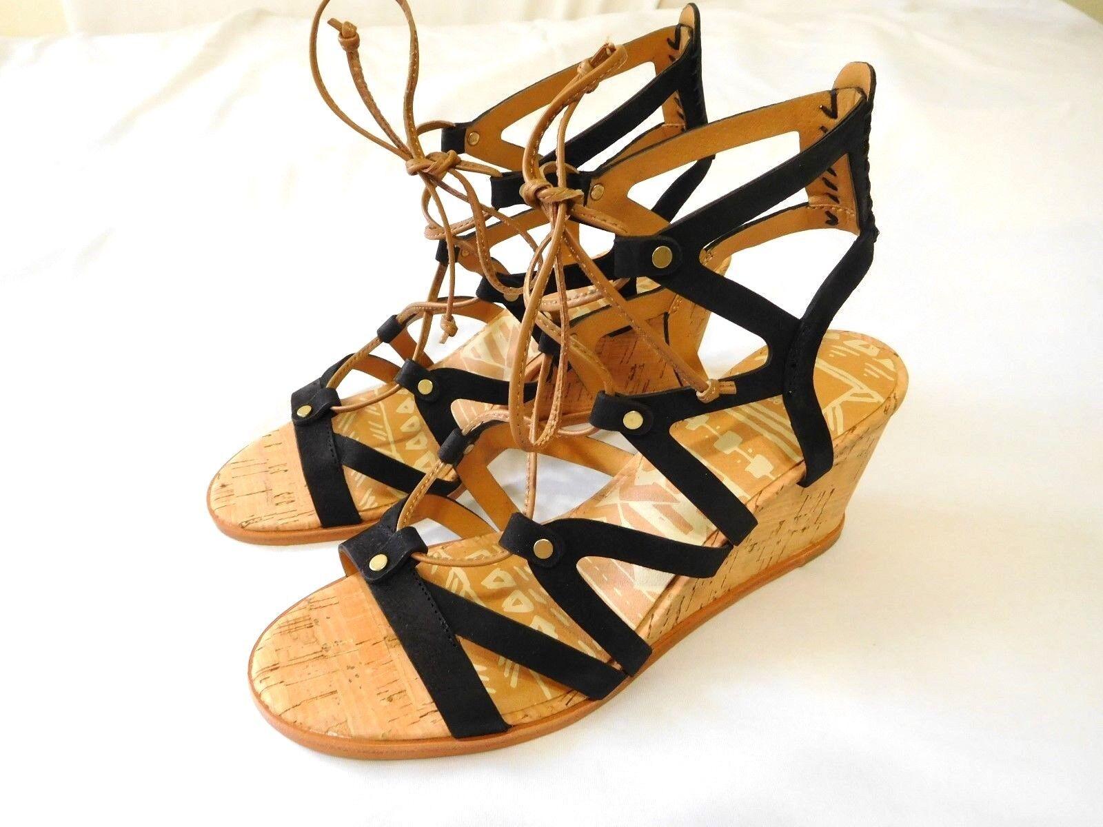 Dolce Vita Damens Schuhes Wedge Sandale BLACK 10 NEU Open Toe Leder