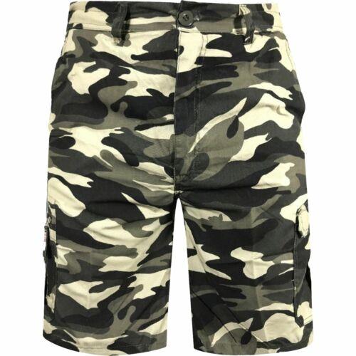 Mens Elasticated Waist Combat Cargo Shorts Camo Summer Half Pants M-3XL BNWT