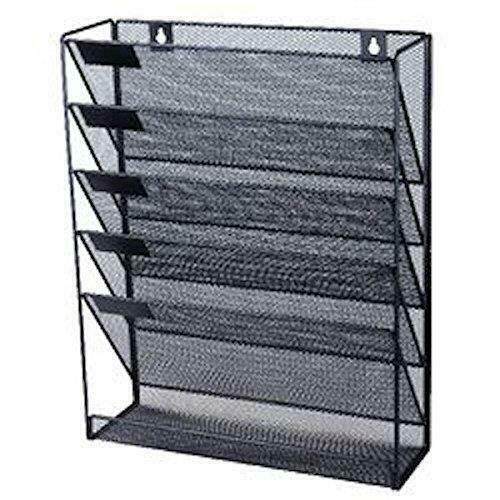 Desk Top Filing Tray Letter Magazine Wall Mounted Mesh Storage Rack Home Office