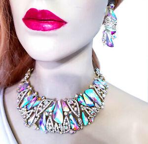 Necklace-Earring-Set-Rhinestone-Austrian-Crystal-AB-Iridescent