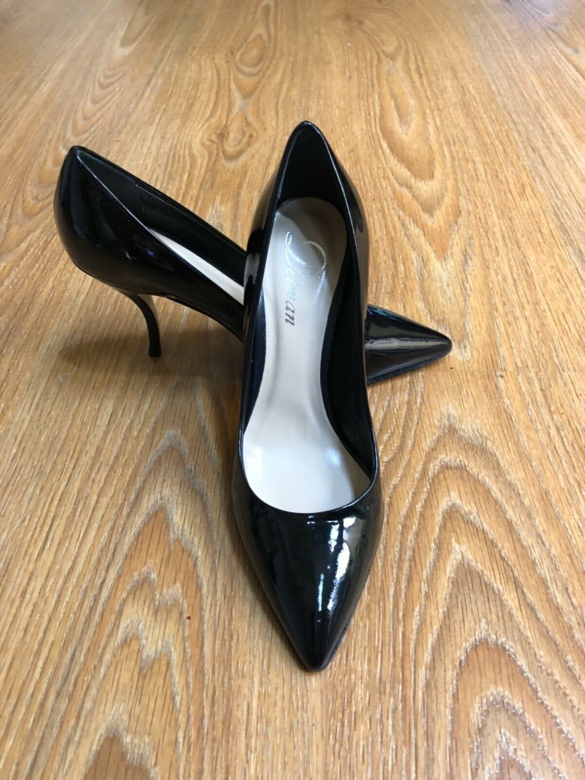 NEW DELMAN SEXY BLACK PATENT LEATHER PUMPS ITALY SIZE 36,5, USA SIZE 6,5