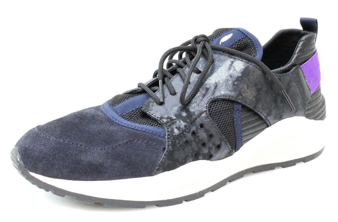 Geox Damen Sneakers Omaya Plus B Leder/Mesh Schwarz Turnschuhe Gr. 41 Neu