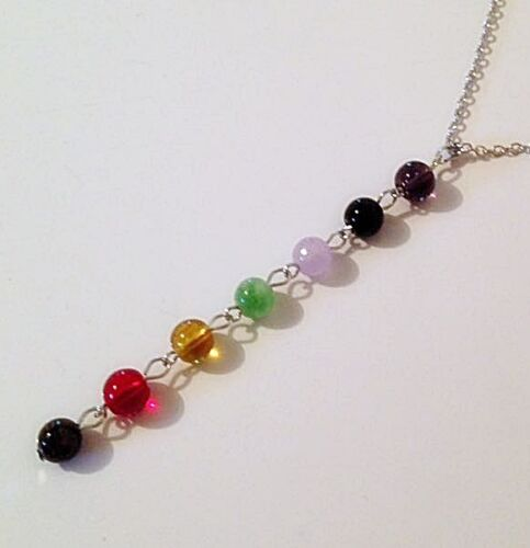 7 colour beaded CHAKRA Pendant Necklace Silver plated Reiki Healing jewellery