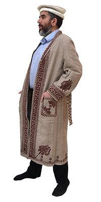 afghan coat pakol blanket beige luxury mens long authentic traditional pushton
