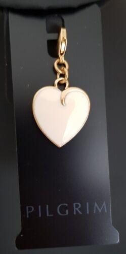 PILGRIM Anhänger Charms Herz weiß vergoldet   #P89