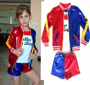 kids girls halloween cosplay Harley Quinn COS costume fancy dress skirts Suit L3