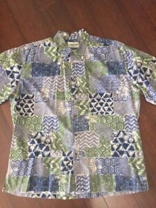 Cooke-Street-Honolulu-2X-Hawaiian-Shirt-Aloha-Blue-Green-100-Cotton-XXL