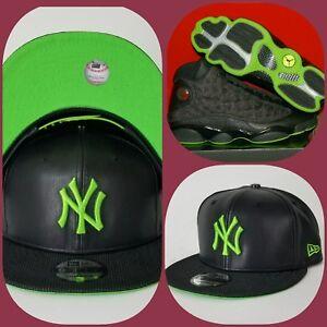 bd8075c2ba6 New Era New York Yankee Black Faux Leather snapback hat Jordan 13 ...