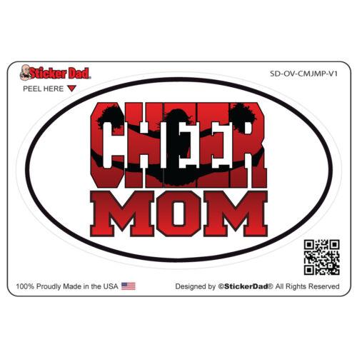 "Oval Cheer Mom Jumper V1 5/"" color: FULL Full Color Printed Vinyl Window Sticker"