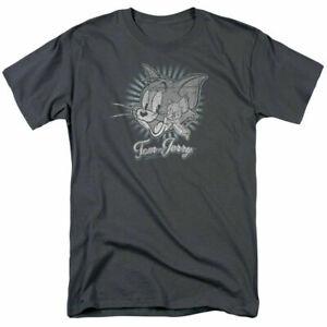 Tom And Jerry Sketchy Carolina Blue Licensed Adult T-Shirt