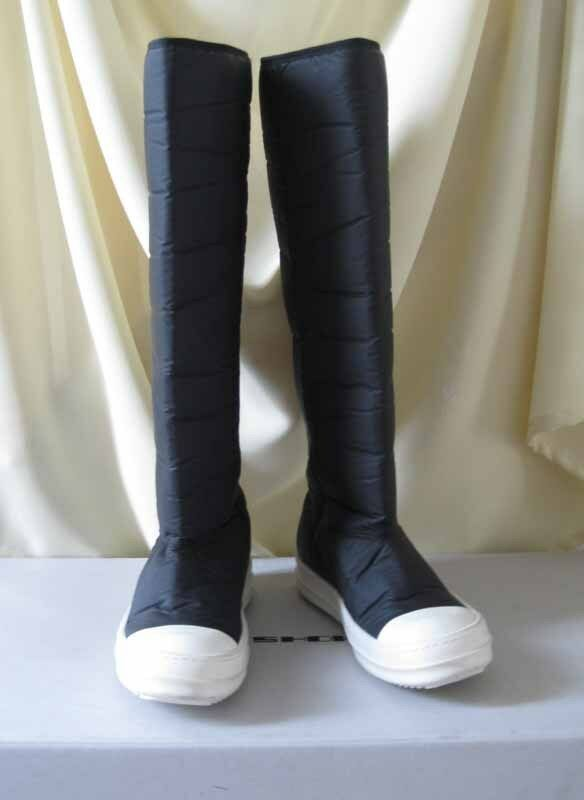 Rick Owens DRKSHDW NIB Padded Tech Fabric Rubber Sole Ramones Sneakers Boots 38