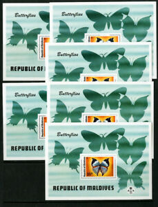 Maldives-Stamps-592-Rare-Butterfly-Sheet-Lot-of-6-Scott-Value-165-00