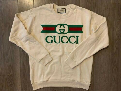 Gucci Embroidered Crewneck Sweatshirt ivory sz L