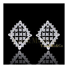 Heavy 18k White Gold EP Brilliant Cut Crystal Clip On Earrings