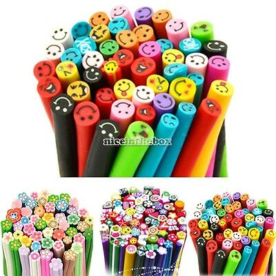 N98B Multi-Color Polymer Clay Nail Art Fimo Canes Rods Sticks Tips Sticker DIY