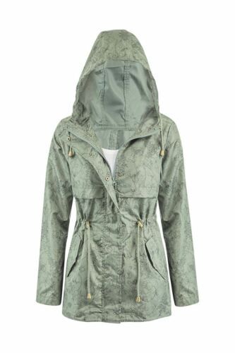 New Womens Lightweight Khaki Plus Size Graphic Fishtail Rain Parka Coat Jacket