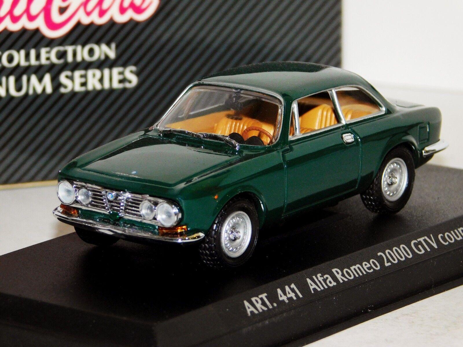 ALFA ROMEO GTV 2000 COUPE 1971 GREEN DETAIL CARS ART 441 1 43