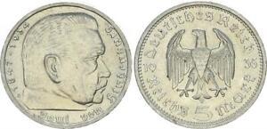 3. Reich 5 Reichsmark 1935 a Berlin Paul von Hindenburg vz-st 60650