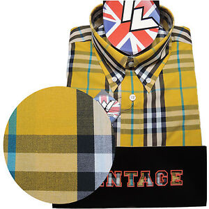 Warrior-Short-Sleeve-Button-Down-Shirt-CASINO-Mod-Skinhead-Yellow-Black-Grey