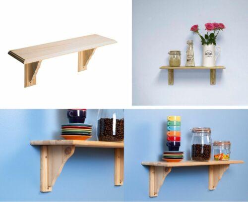 Natural Wood Wooden Shelves Storage Unit Kit /& Fitting Wall Mounted Corner Shelf