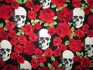 Skulls Roses Red Rose Skull Black Cotton Fabric 7 12 Inch End Cut