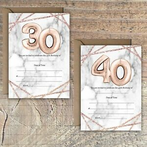 BIRTHDAY-INVITATIONS-BLANK-ROSE-GOLD-MARBLE-BALLOON-EFFECT-30TH-40th-PACKS-OF-10