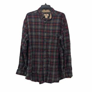 Woolrich-Mens-Flannel-Button-Front-Shirt-Black-Plaid-Cuff-Long-Sleeve-Pocket-M