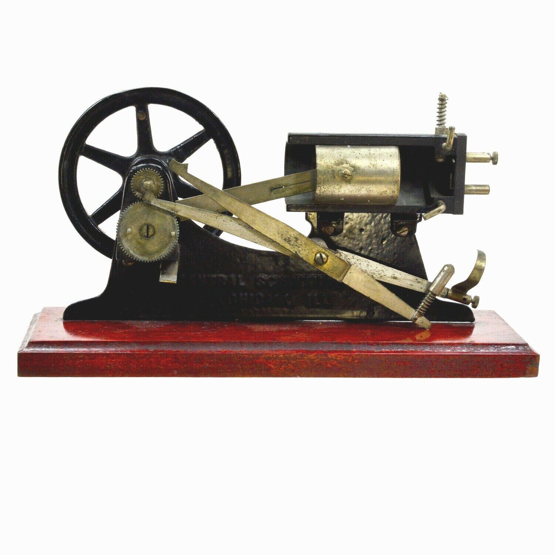 Modelo del motor de vapor científica Central demostrador de hierro fundido c1900 & Bronce Madera