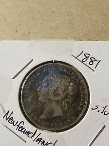 1881 CANADA NEWFOUNDLAND UK Queen VICTORIA Antique Silver 50 Cents Coin