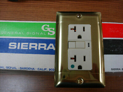 Vintage Polished Brass Decora GFCI Switch Outlet Wall Cover Plate Sierra P/&S