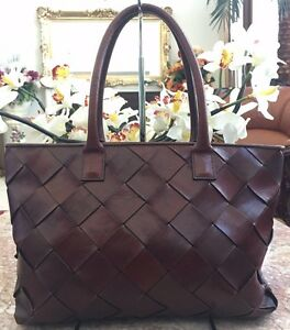 Image Is Loading Wilsons Leather Pelle Studio Red Woven Satchel Tote