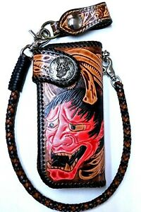 Leather-biker-trucker-Skull-motorcycle-Chain-Wallet-hand-Tooled-Devil-Demon