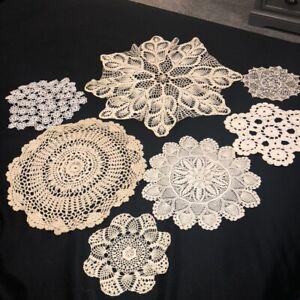 "Vintage Mid Century Hand Crocheted Doilies Lot of 8 Ecru Rounds 7""-20"" Diam EUC"
