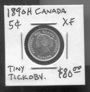 CANADA-BEAUTIFUL-QV-SILVER-5-CENTS-1890-H