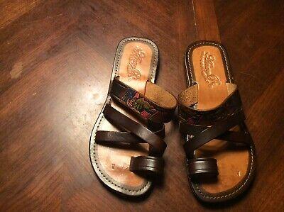 LMS160 WOMEN/'S Huaraches Sandals MAYAN CALENDAR TAN Mexican Sandals Hurachi