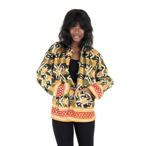 African Reversible Mud Print JacketOne-Size Blue//Orange