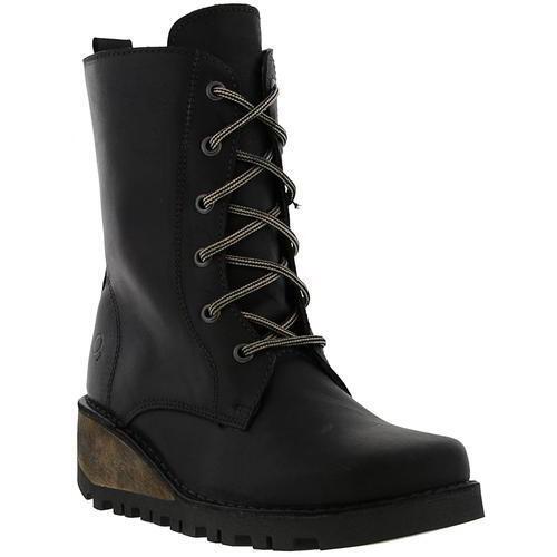 Oxygen Nene Damenschuhe Leder Lace Up Mid Stiefel Calf Wedge Stiefel Mid Größe UK 4-8 9367b9