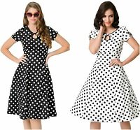 Ladies Vintage 50's White & Black Cap Sleeve Swing Polka Dot Evening Dress 8 10