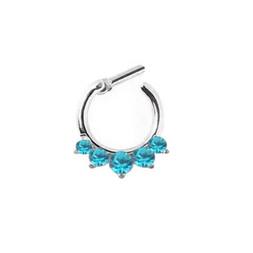 Women Crystal Septum Clicker Hanger Nose Ring Non Piercing Body Jewelr/_ti