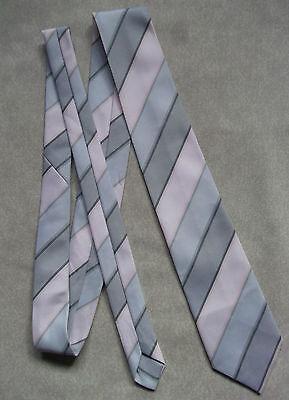 Brillante Vintage Tootal Cravatta Da Uomo Cravatta Retro Moda 1980s Rosa Grigio A Righe-mostra Il Titolo Originale Una Gamma Completa Di Specifiche