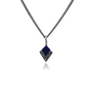 Gemondo-Plata-De-Ley-Lapislazuli-amp-Marcasite-Art-Deco-45cm-Collar