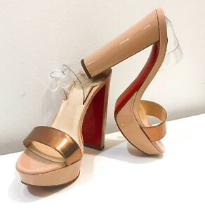 74ec6cf5b12 Details about Christian Louboutin Red Sole Sandals Heels Shoes Size 36.5 US  6.5 Nude