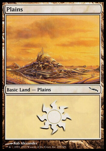 [4x] Plains (288) - Foil [x4] Mirrodin Slight Play, English -BFG- MTG Magic