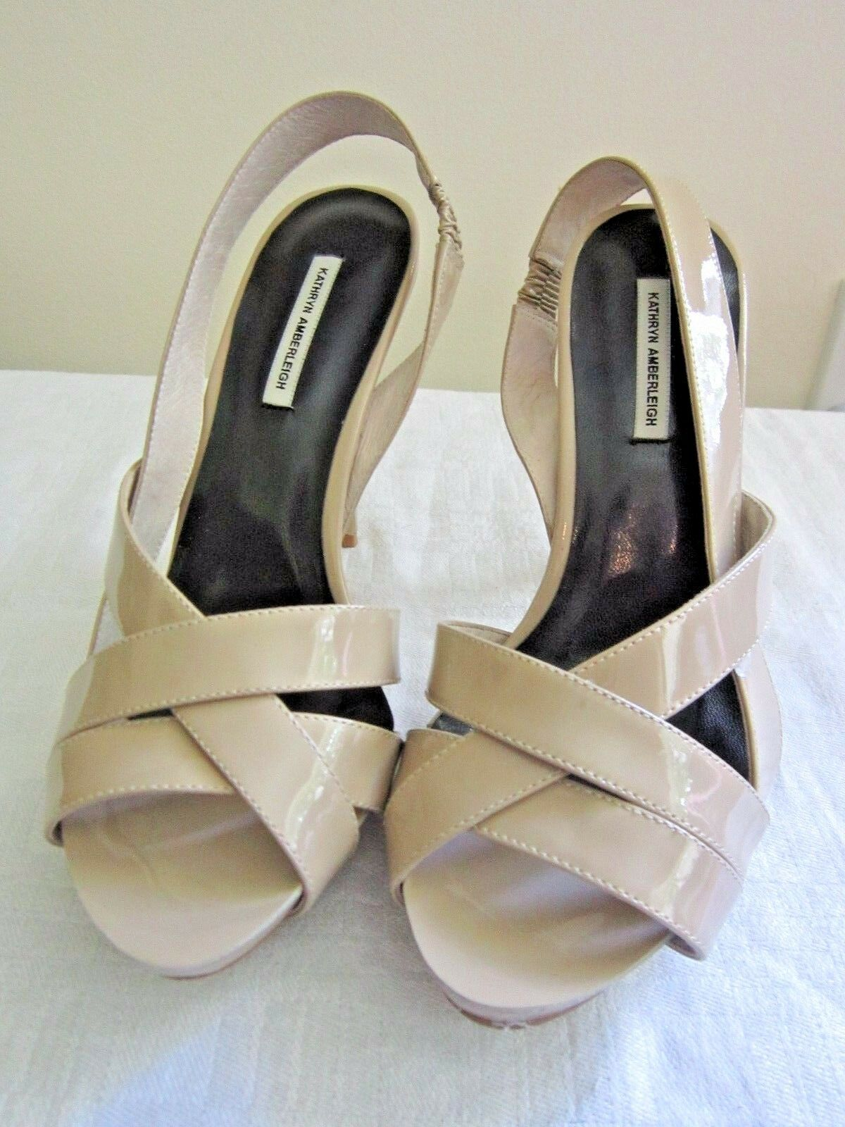 NEW BOX KATHRYN AMBERLEIGH PATENT LEATHER SLINGBACKS NUDE 4 4 4  HEELS PUMPS 7.5 M 9fcc6d