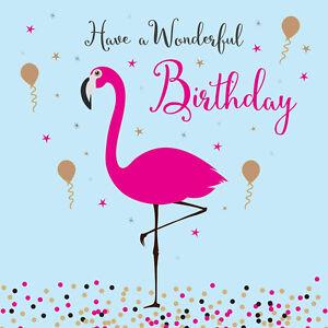 Image Is Loading Pink Flamingo Birthday Card Luxury Greeting Embossed