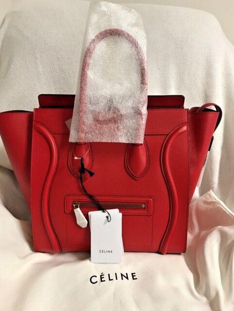 NWT Authentic Red Coquelicot Celine Pebble Leather Mini Luggage Tote MSRP   3,100 0c39ec252e