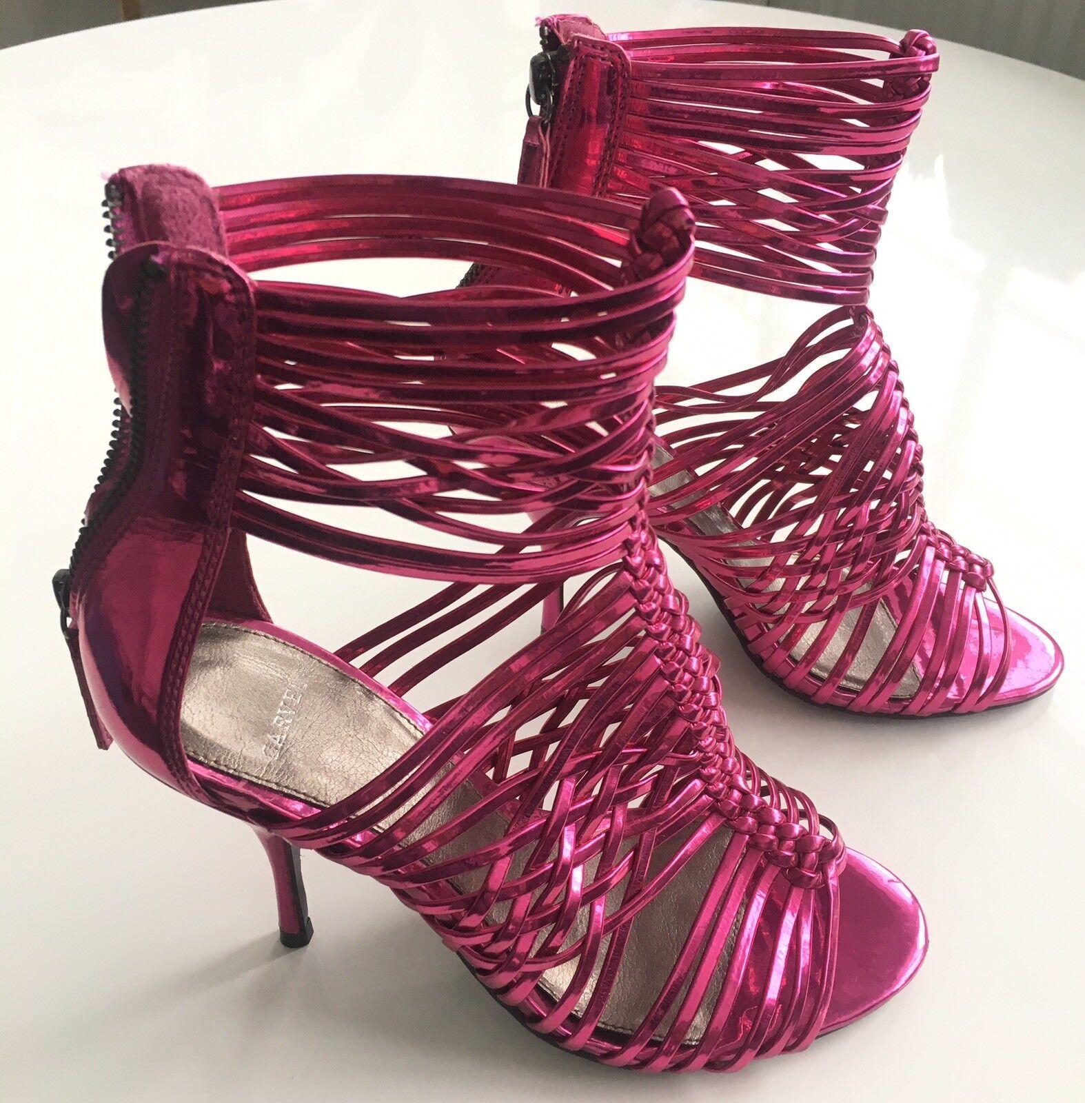 NEW CARVELA Kurt Geiger Heel Ankle Strap Sandal Peeptoe Shoes Pink Metallic £129